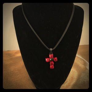 Jewelry - Black choker style Ruby cross necklace